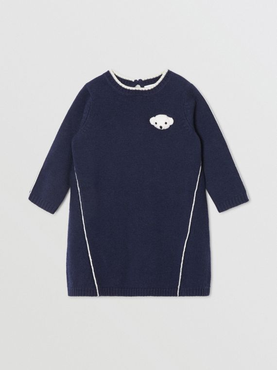 Vestitino in lana e cashmere con orsetto Thomas (Navy)
