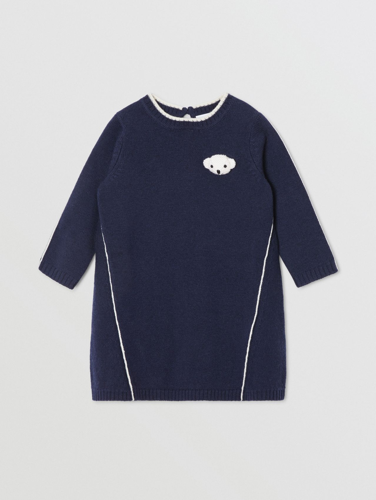 Thomas Bear Detail Wool Cashmere Sweater Dress in Navy