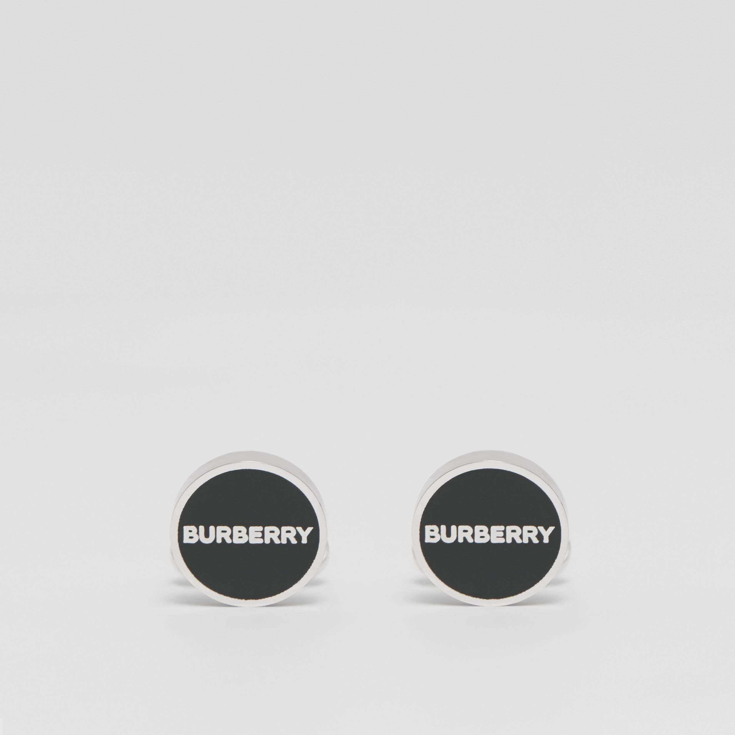 Logo Detail Palladium-plated Cufflinks in Palladium/ink Green - Men | Burberry - 1