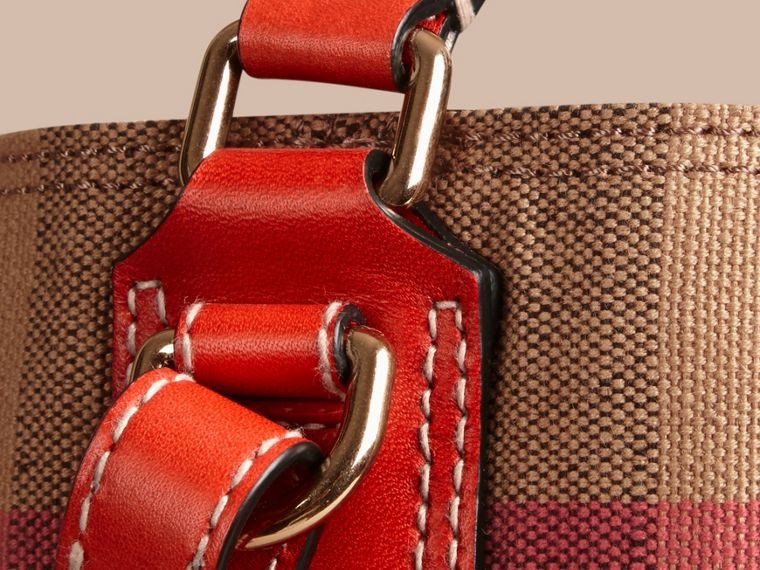 Medium Canvas Check Hobo Bag in Cadmium Red - Women | Burberry - cell image 4