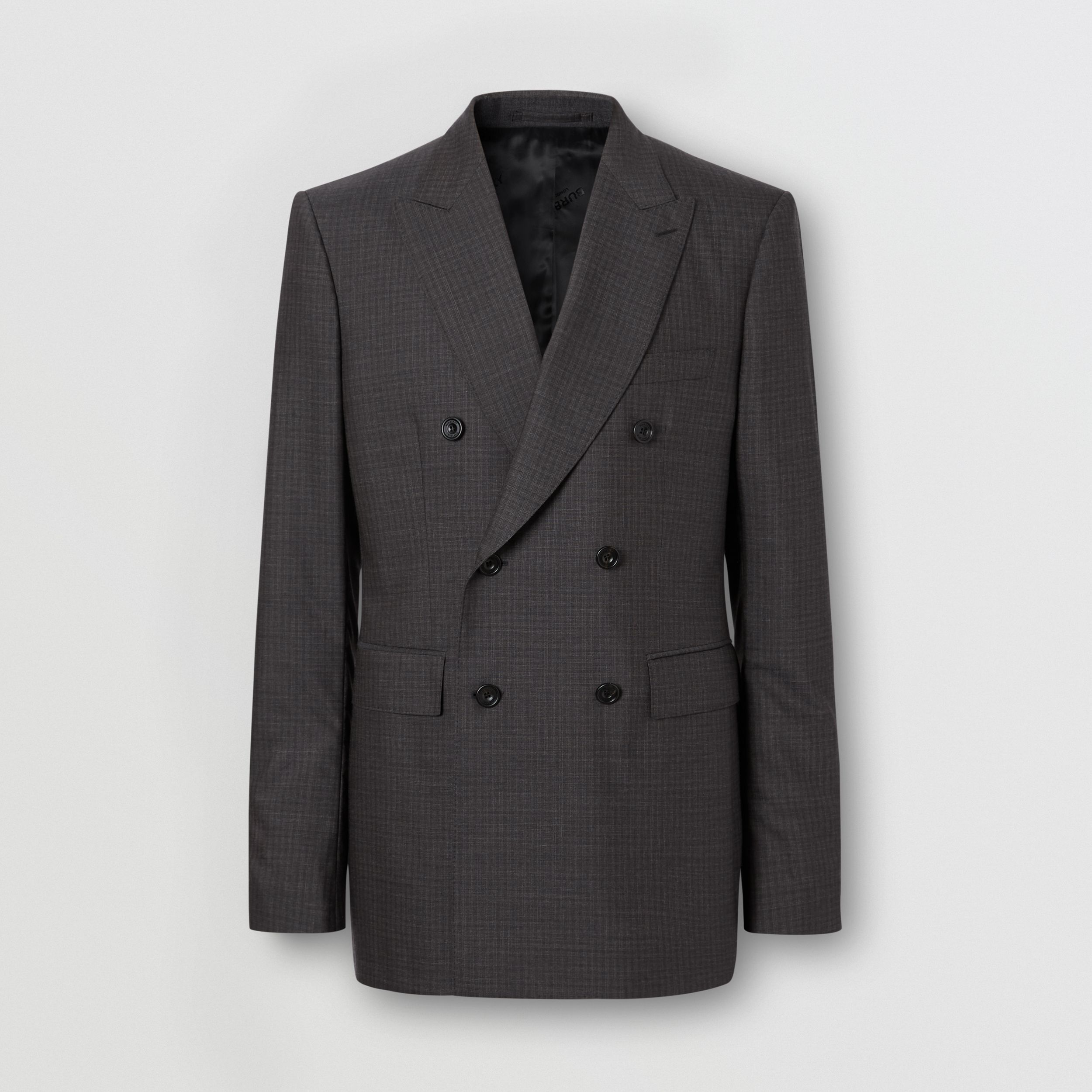 Classic Fit Windowpane Check Wool Silk Suit in Dark Grey - Men | Burberry - 4