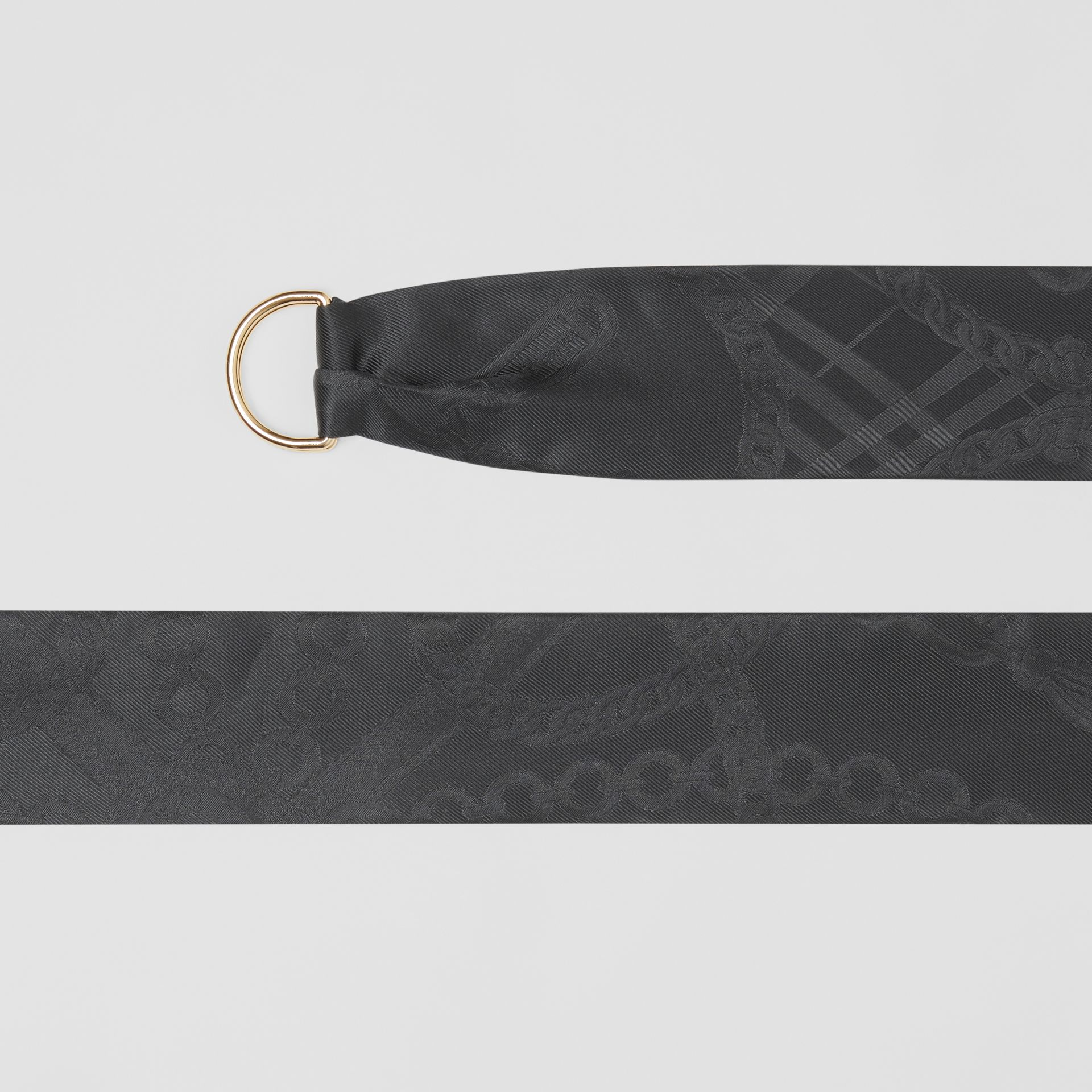 D-ring Detail Chain Silk Jacquard Skinny Scarf in Black | Burberry - gallery image 1