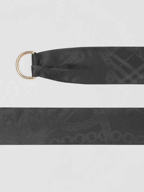 D-ring Detail Chain Silk Jacquard Skinny Scarf in Black | Burberry - cell image 1