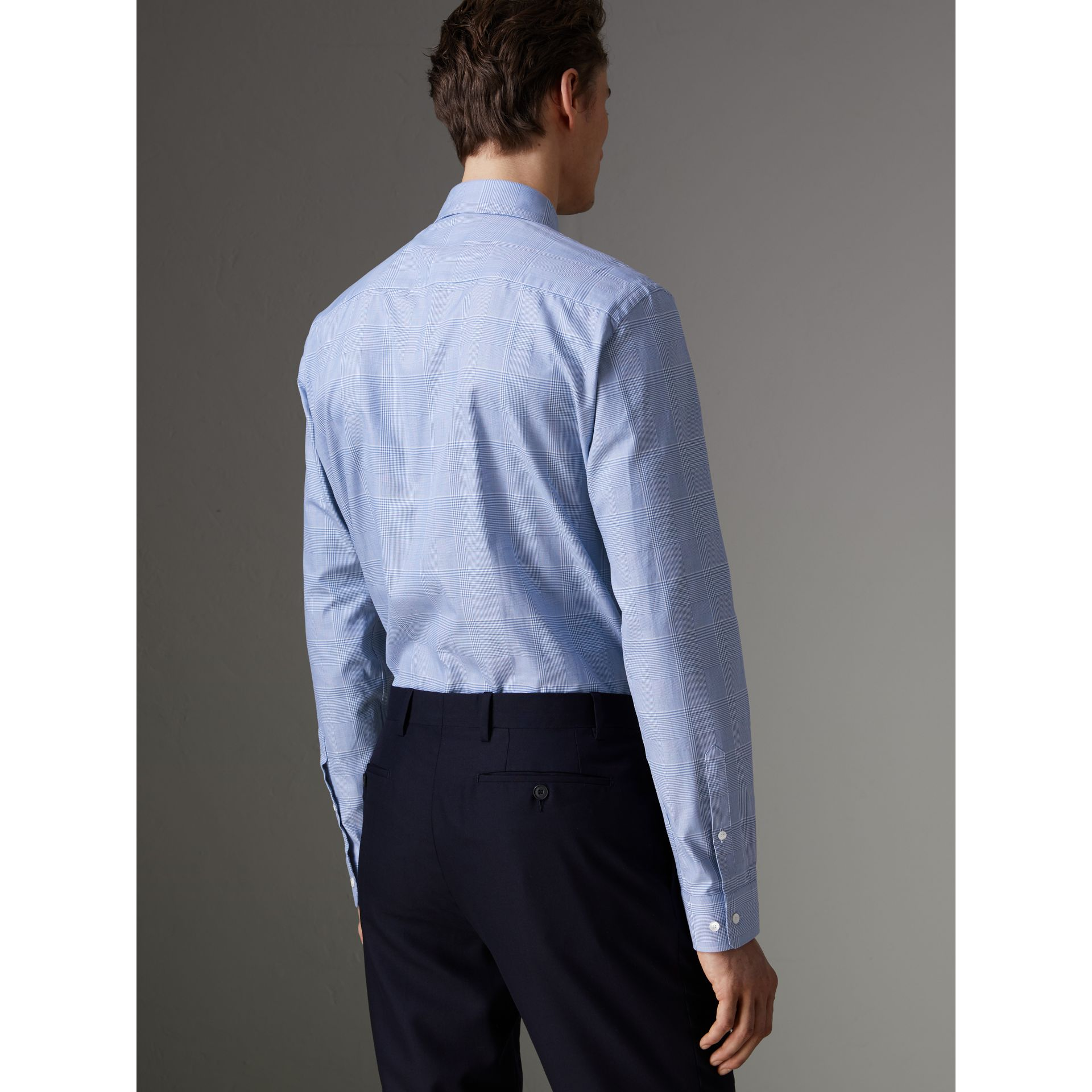 Modern Fit Check Cotton Shirt in City Blue - Men | Burberry - gallery image 2