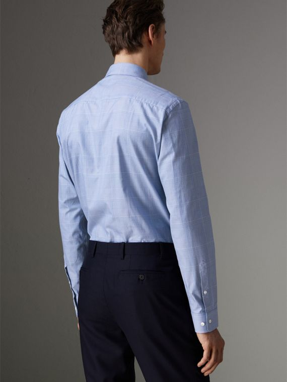 Modern Fit Check Cotton Shirt in City Blue - Men | Burberry United Kingdom - cell image 2