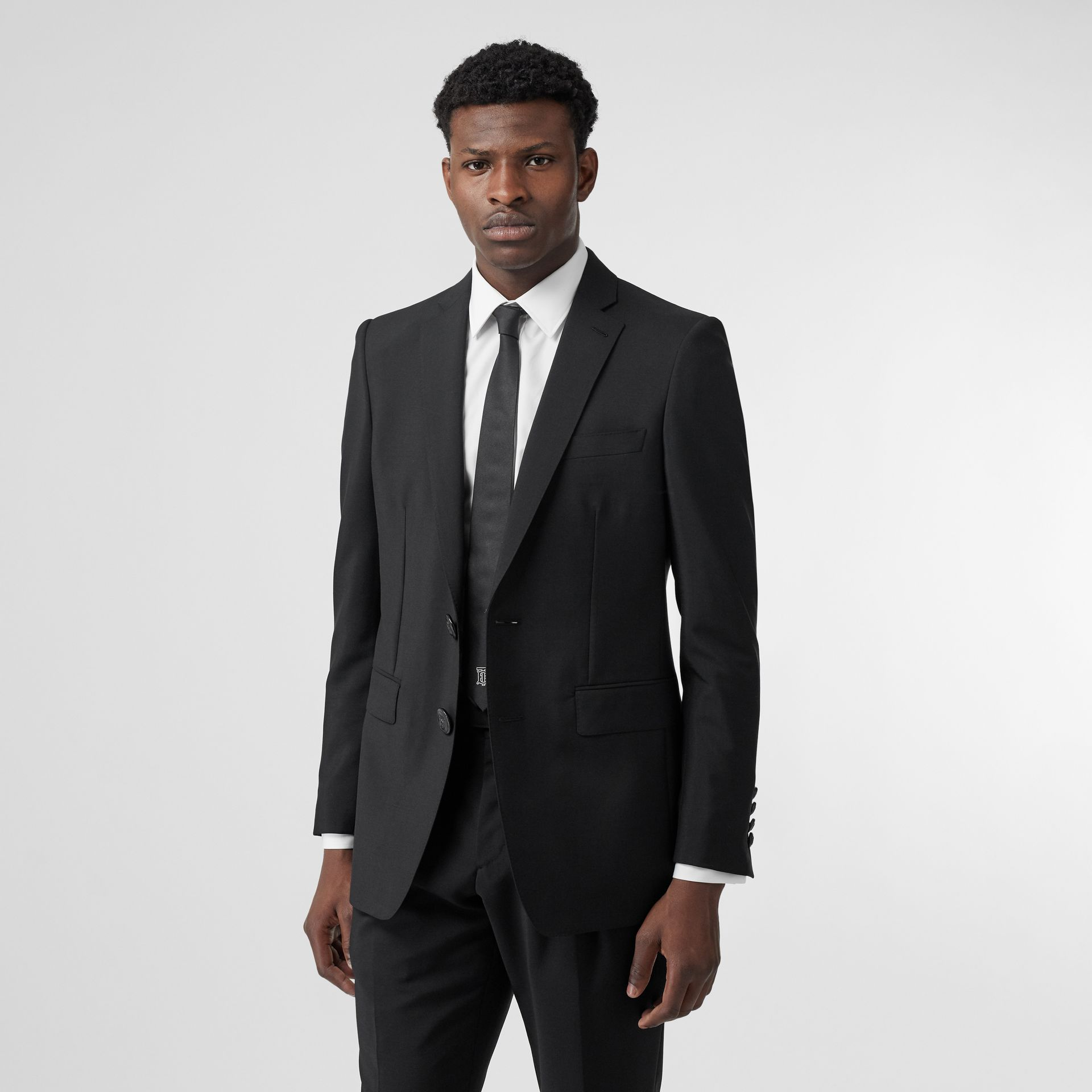 English Fit Wool Mohair Tailored Jacket in Black - Men | Burberry United Kingdom - gallery image 6