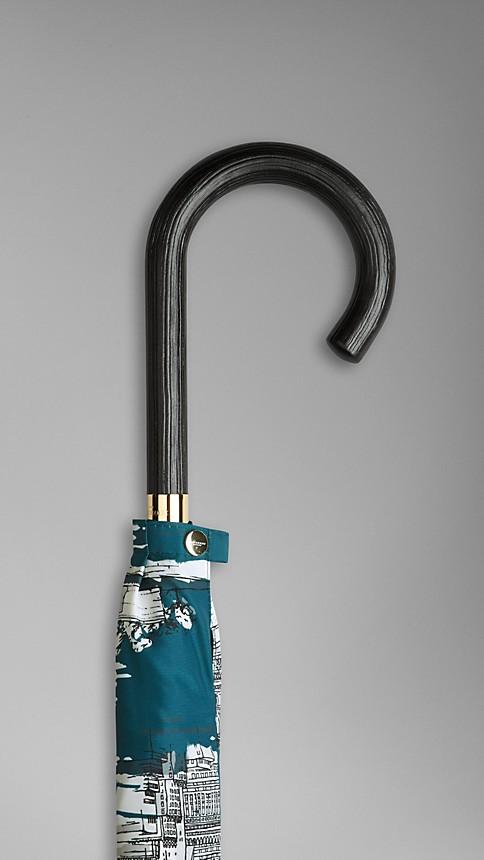 Dark cyan print New York Landmarks Walking Umbrella - Image 4