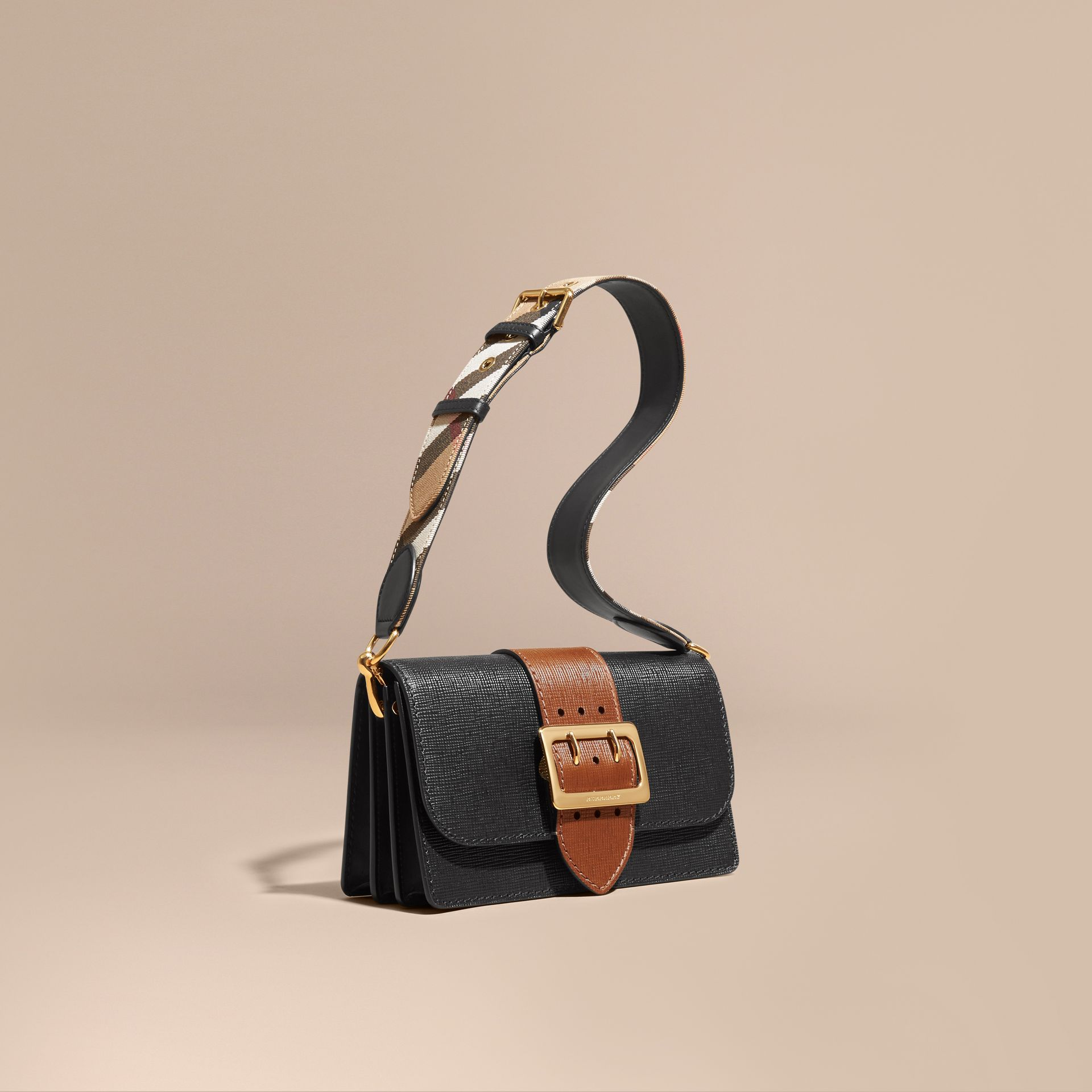 Black/tan The Medium Buckle Bag in Textured Leather Black/tan - gallery image 1