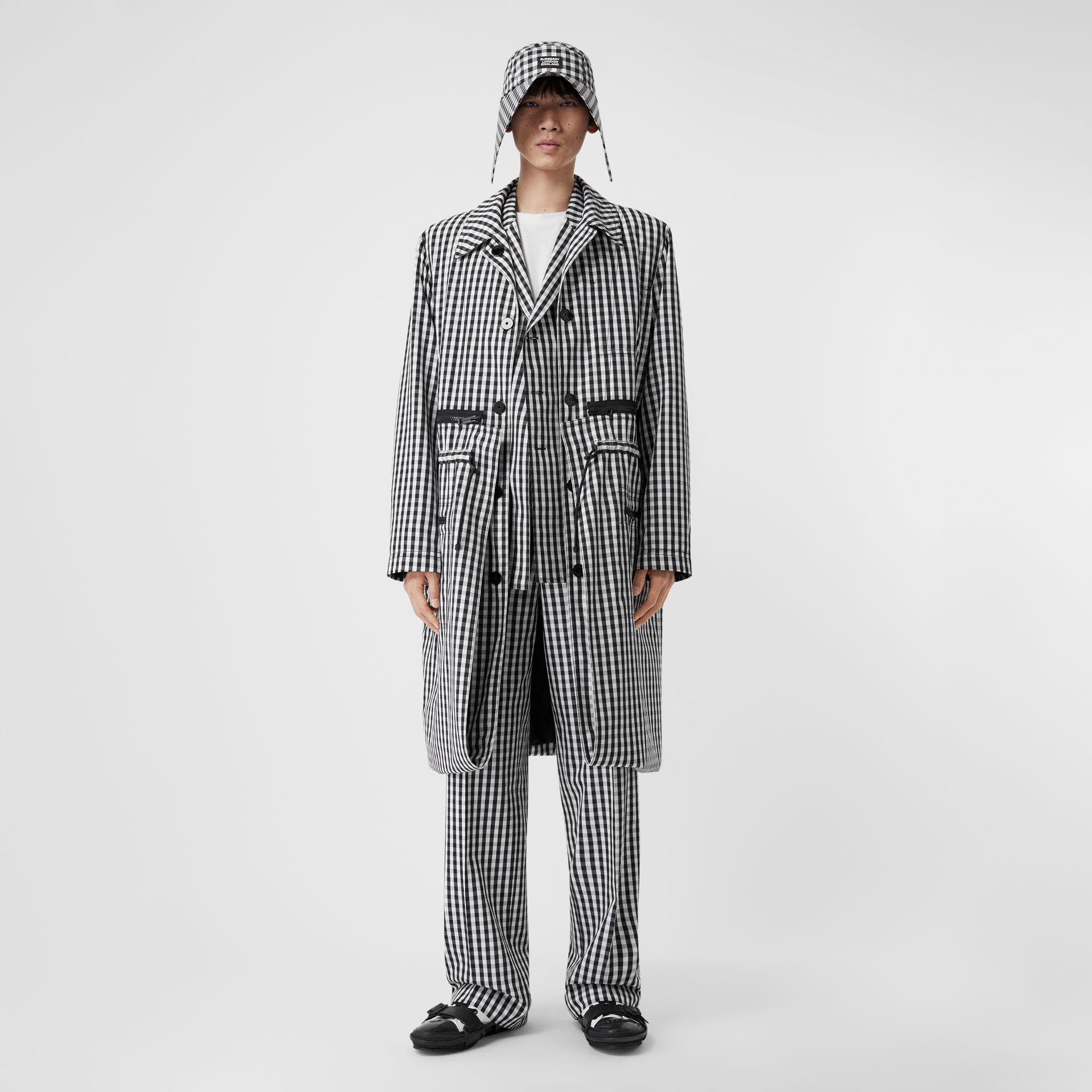 Gingham Technical Wool Wide-leg Tailored Trousers in Black | Burberry United Kingdom - gallery image 0