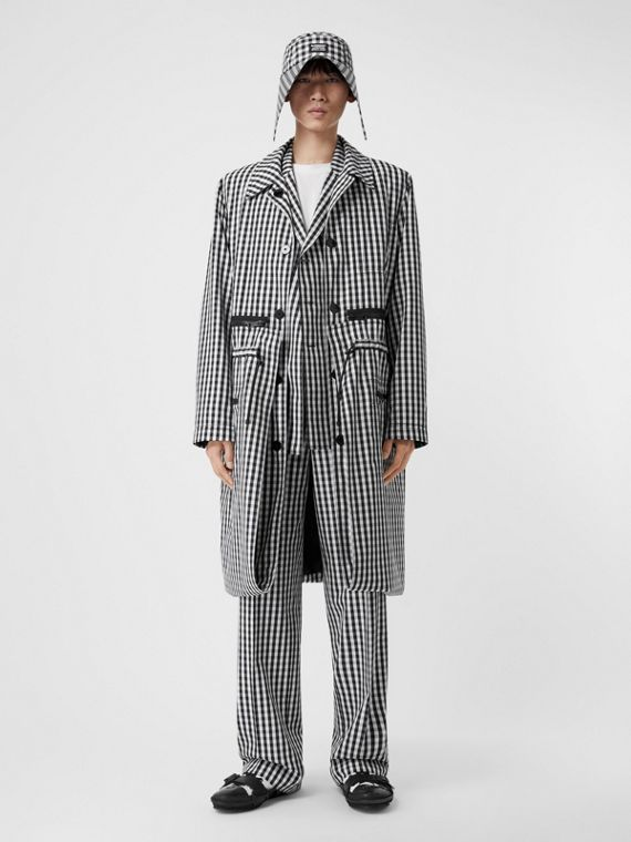 Gingham Technical Wool Wide-leg Tailored Trousers in Black