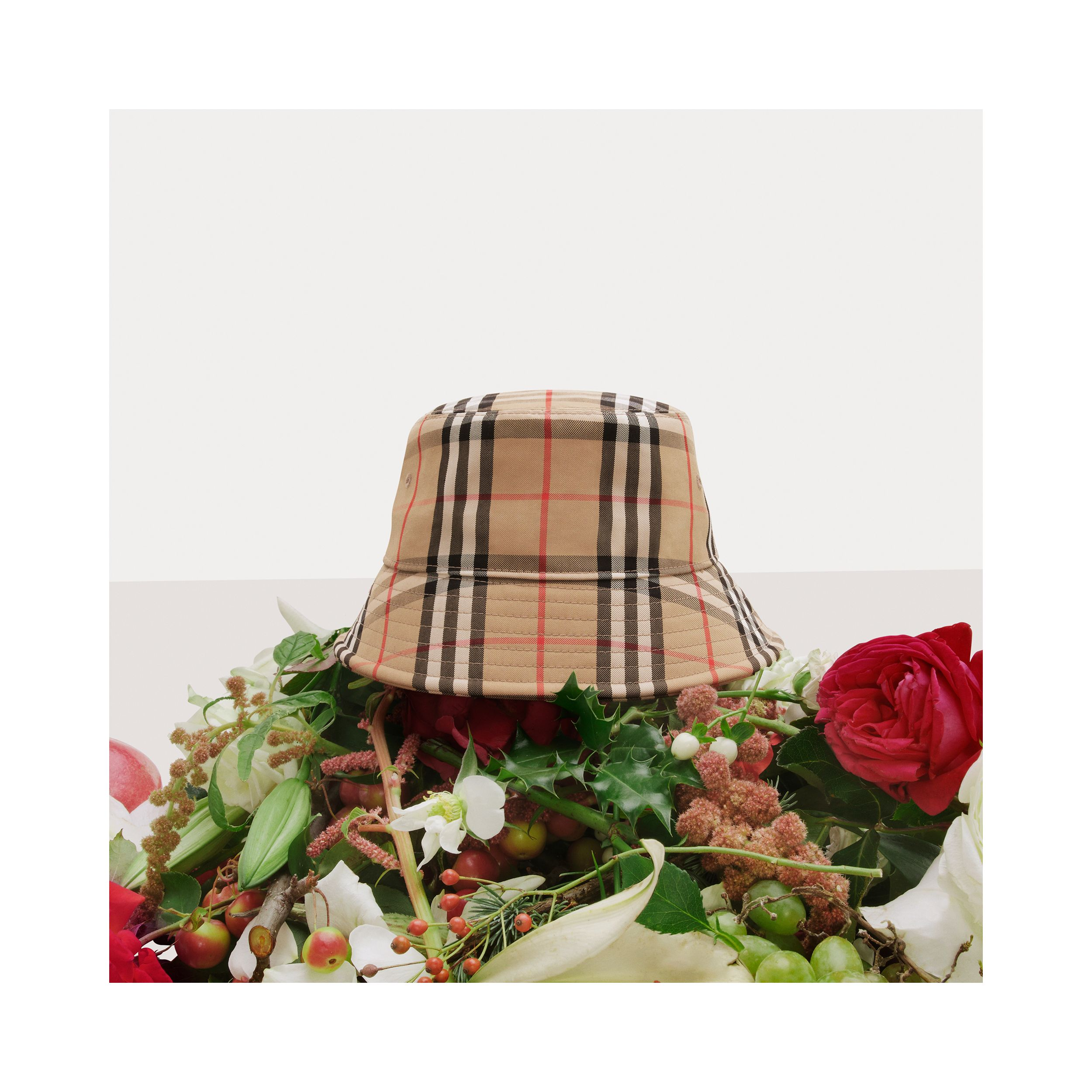 Vintage Check Cotton Blend Bucket Hat in Archive Beige | Burberry - 2