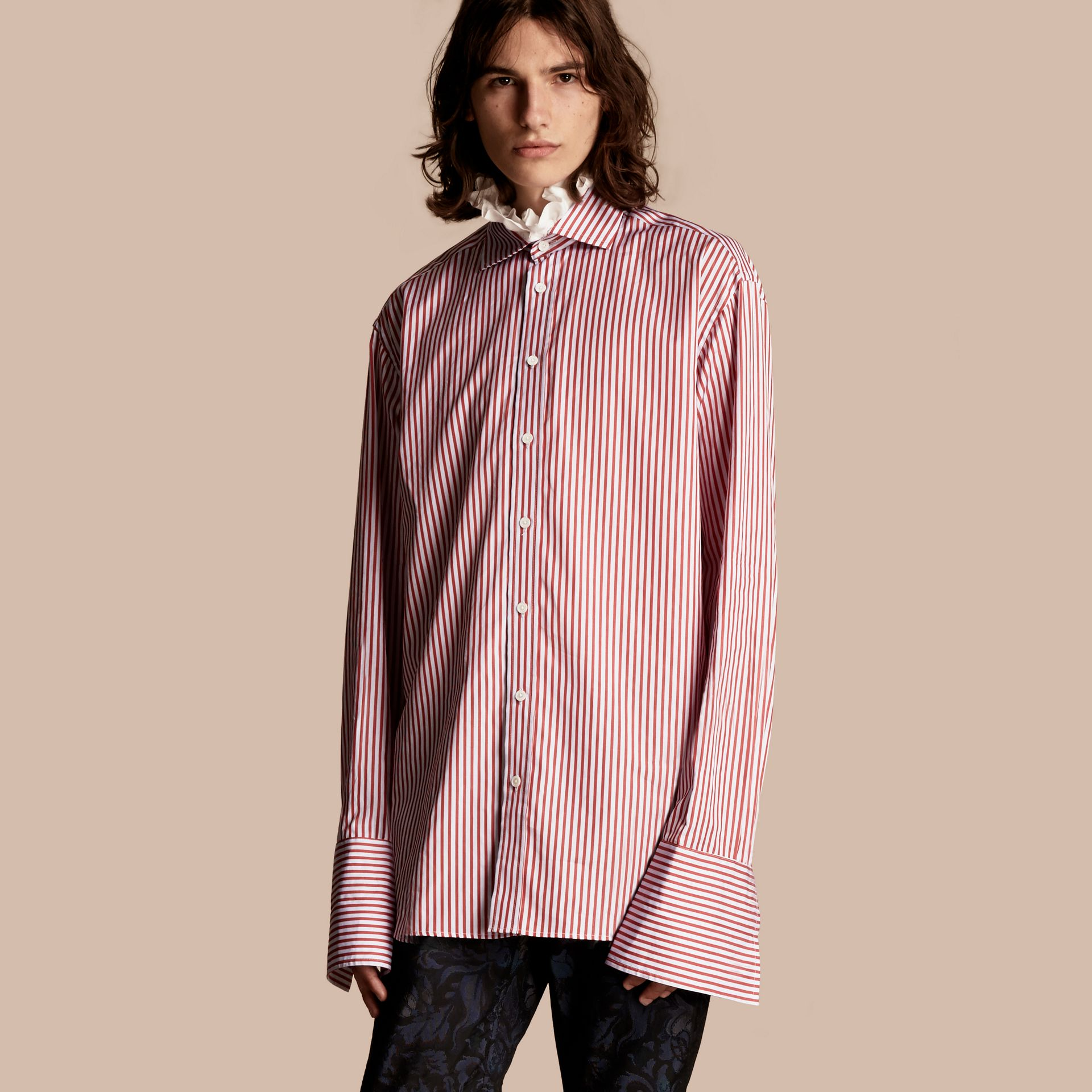 Cardinal red Ruff Collar Striped Cotton Shirt - gallery image 1