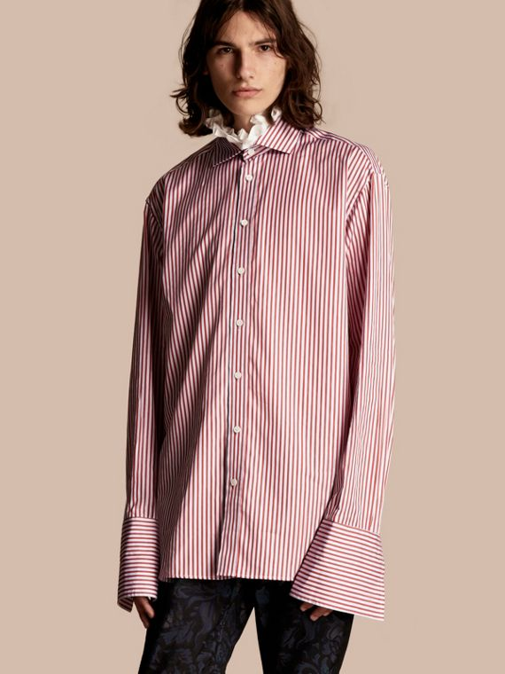 Ruff Collar Striped Cotton Shirt