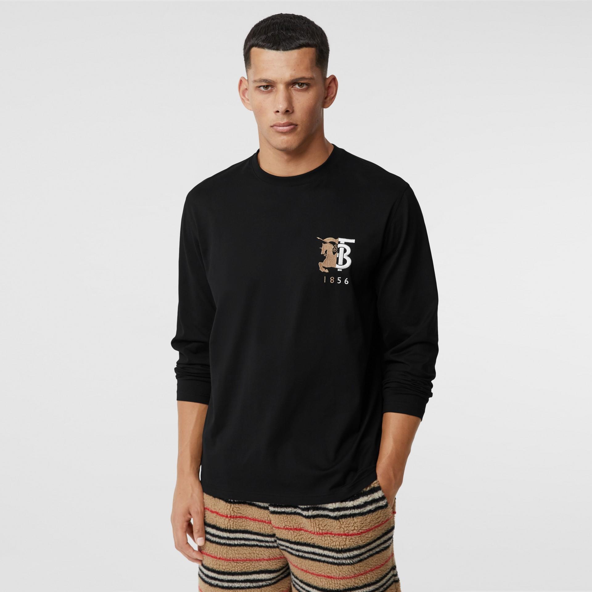 Haut à manches longues en coton avec logo (Noir) - Homme | Burberry - photo de la galerie 4