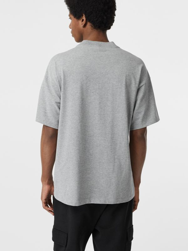 Chequer EKD Cotton T-shirt in Pale Grey Melange - Men | Burberry Singapore - cell image 2