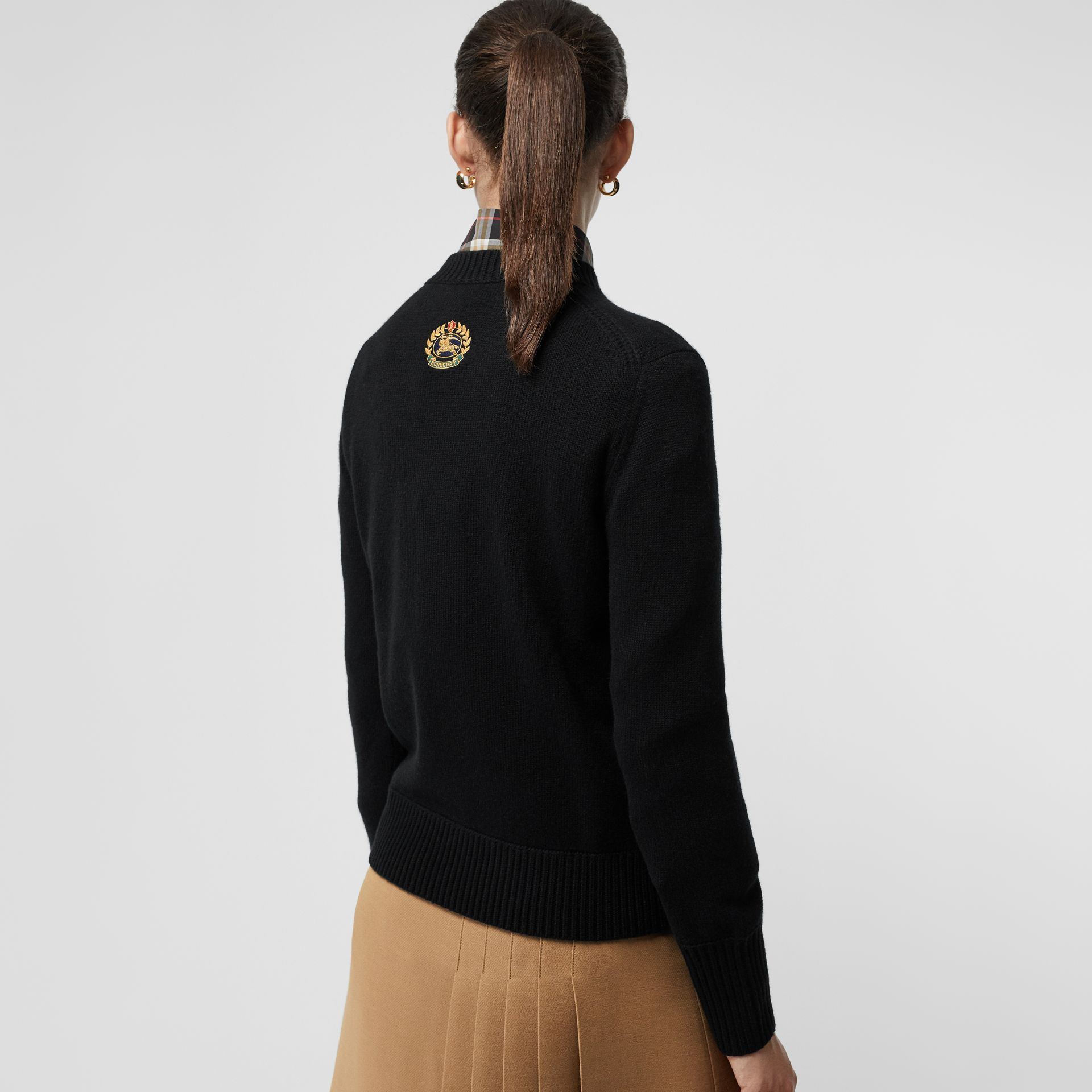 Embroidered Crest Cashmere Sweater in Black - Women | Burberry Singapore - gallery image 4