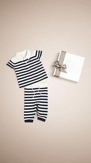 Knitted Cotton and Cashmere Stripe Two-piece Set