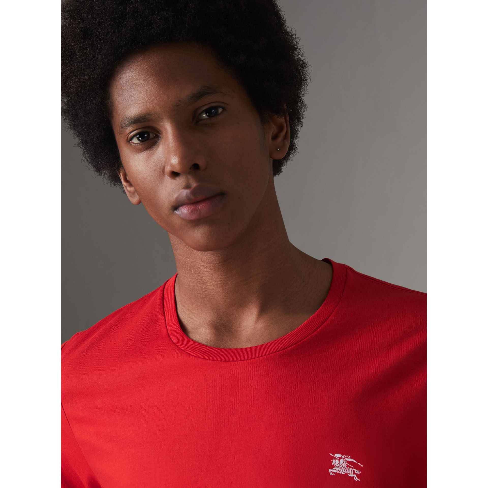 Cotton Jersey T-shirt in Bright Red - Men | Burberry - gallery image 1