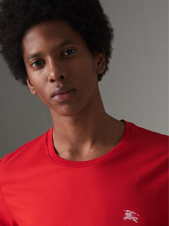 Cotton Jersey T-shirt in Bright Red - Men | Burberry Canada - cell image 1