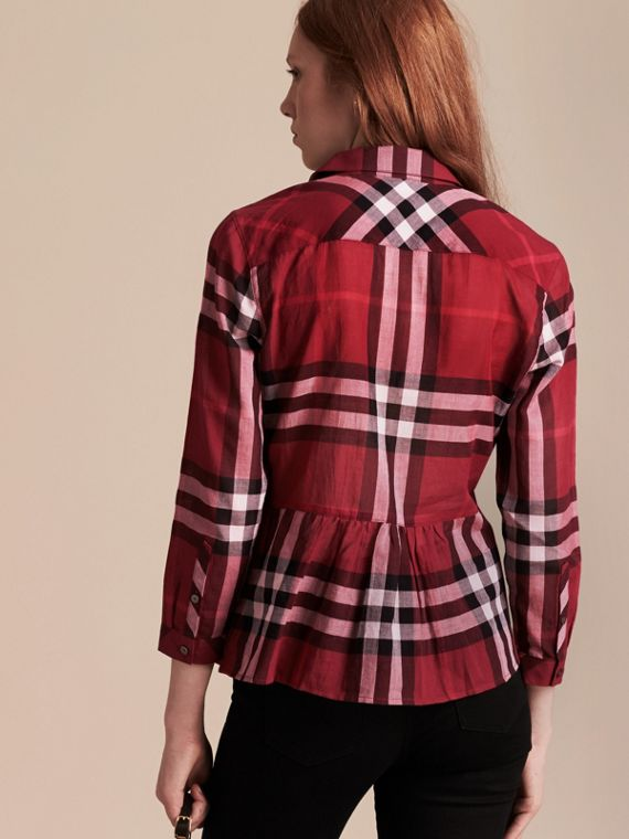 Poppy red Check Cotton Peplum Shirt Poppy Red - cell image 2