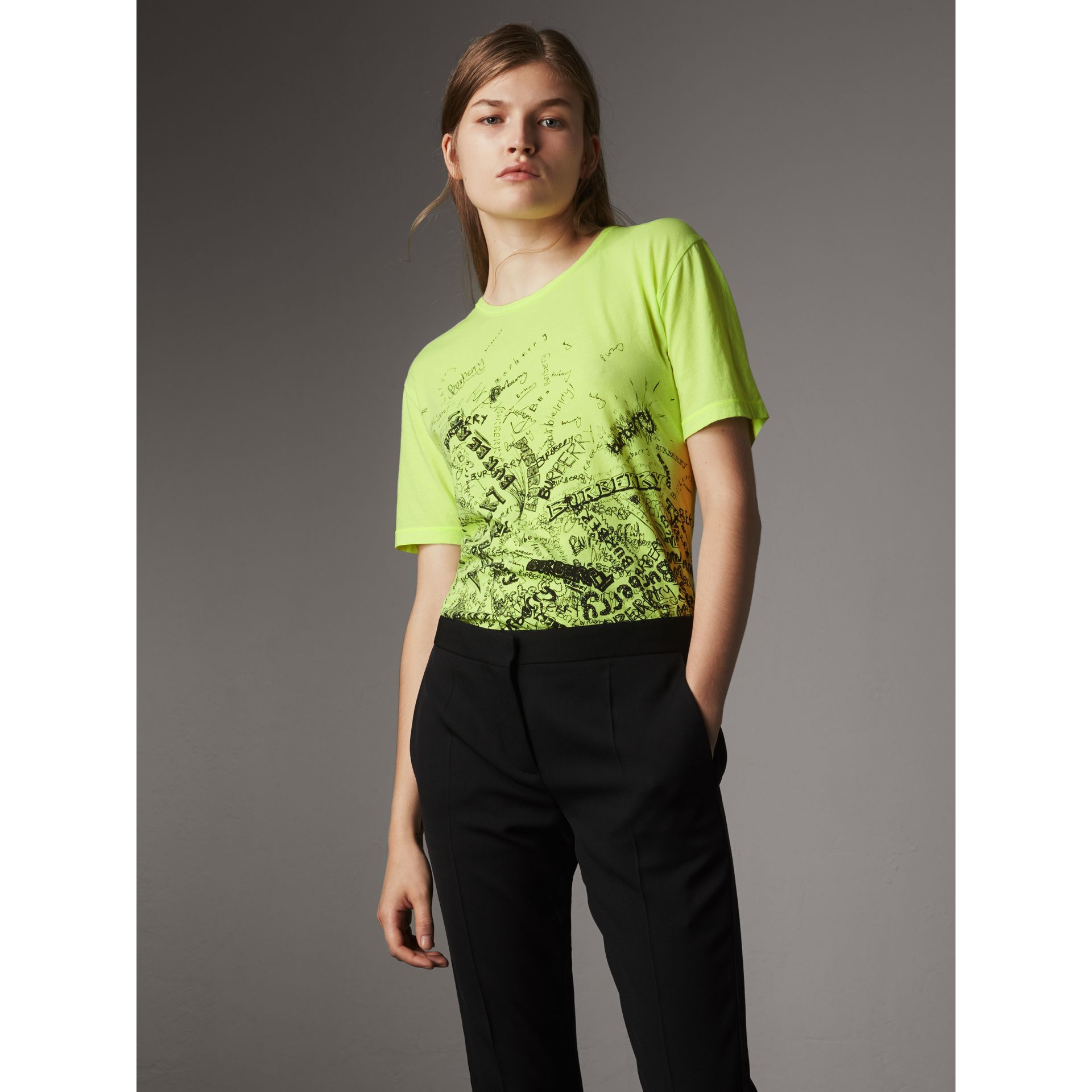 Doodle Print Cotton T-shirt in Bright Lemon - Women | Burberry - gallery image 0