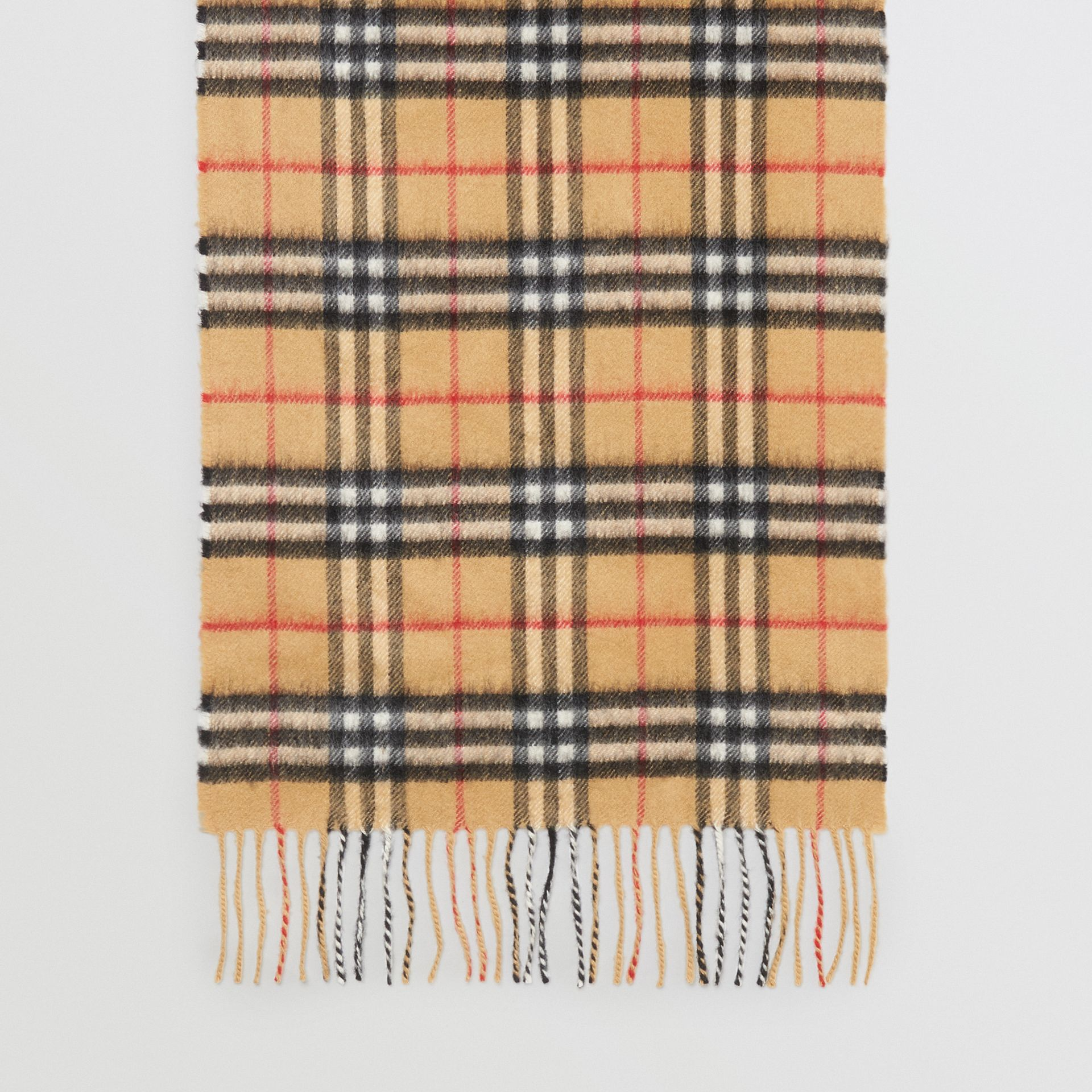 The Classic Vintage Check Cashmere Scarf in Antique Yellow | Burberry Hong Kong - gallery image 4