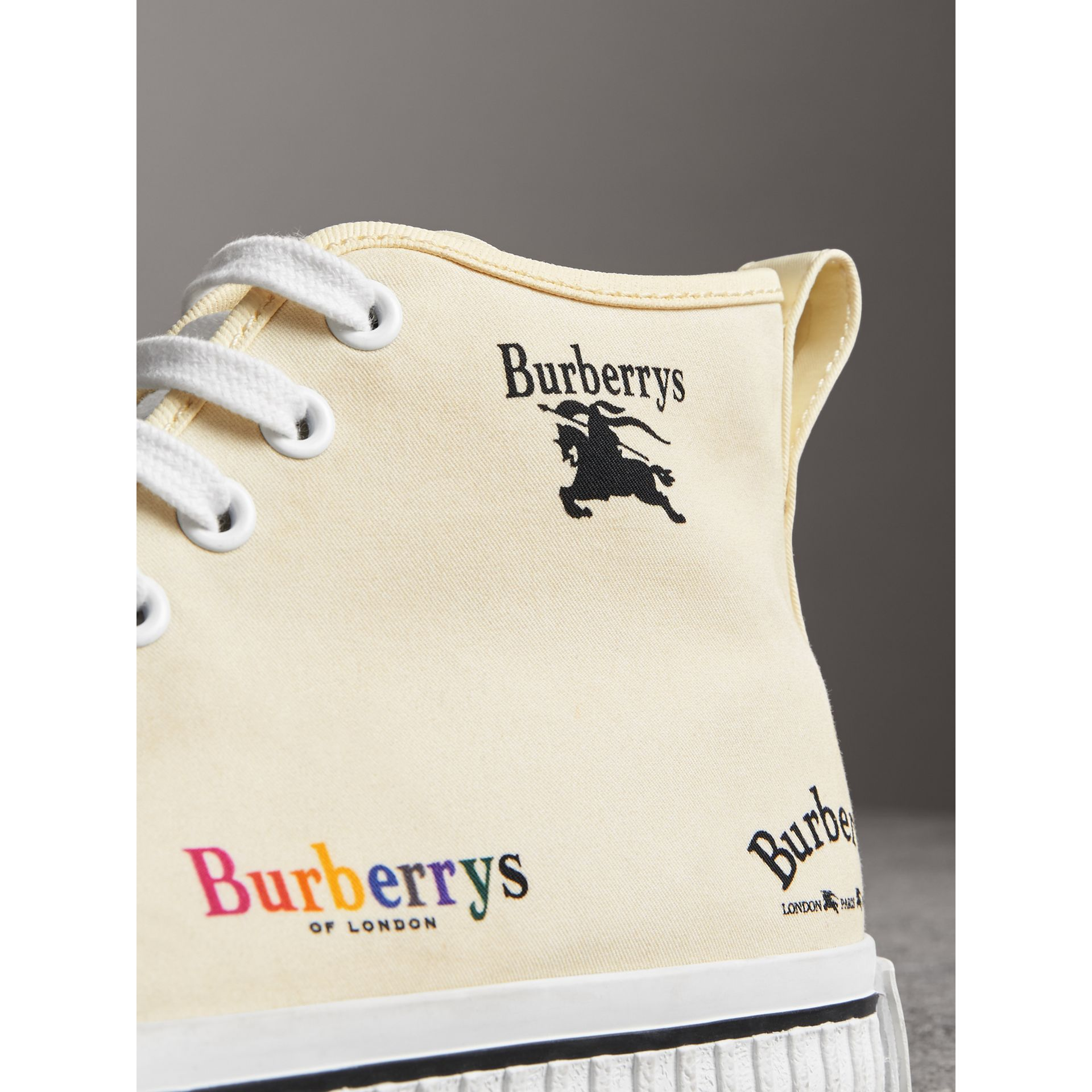 Archive Logo Cotton High-top Sneakers in Off White - Women | Burberry - gallery image 1