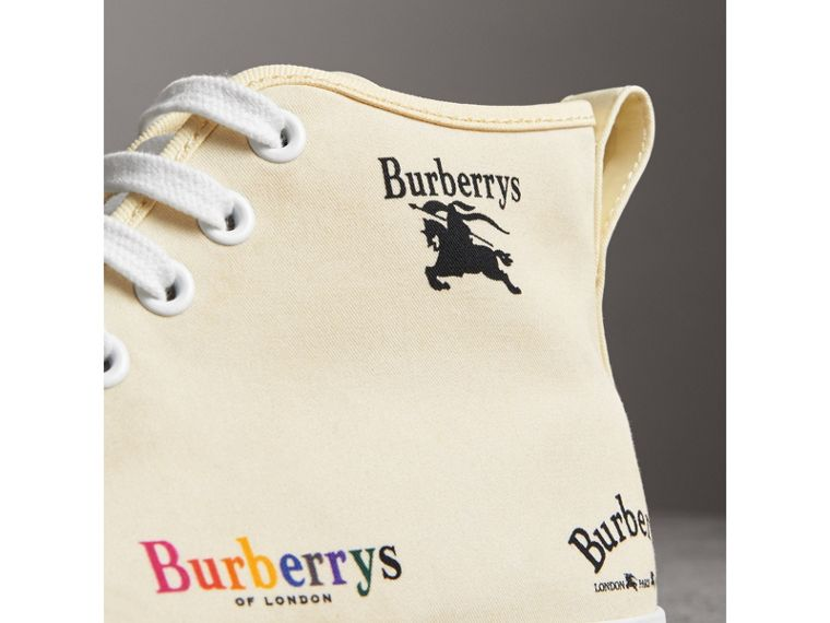 Archive Logo Cotton High-top Sneakers in Off White - Women | Burberry Singapore - cell image 1