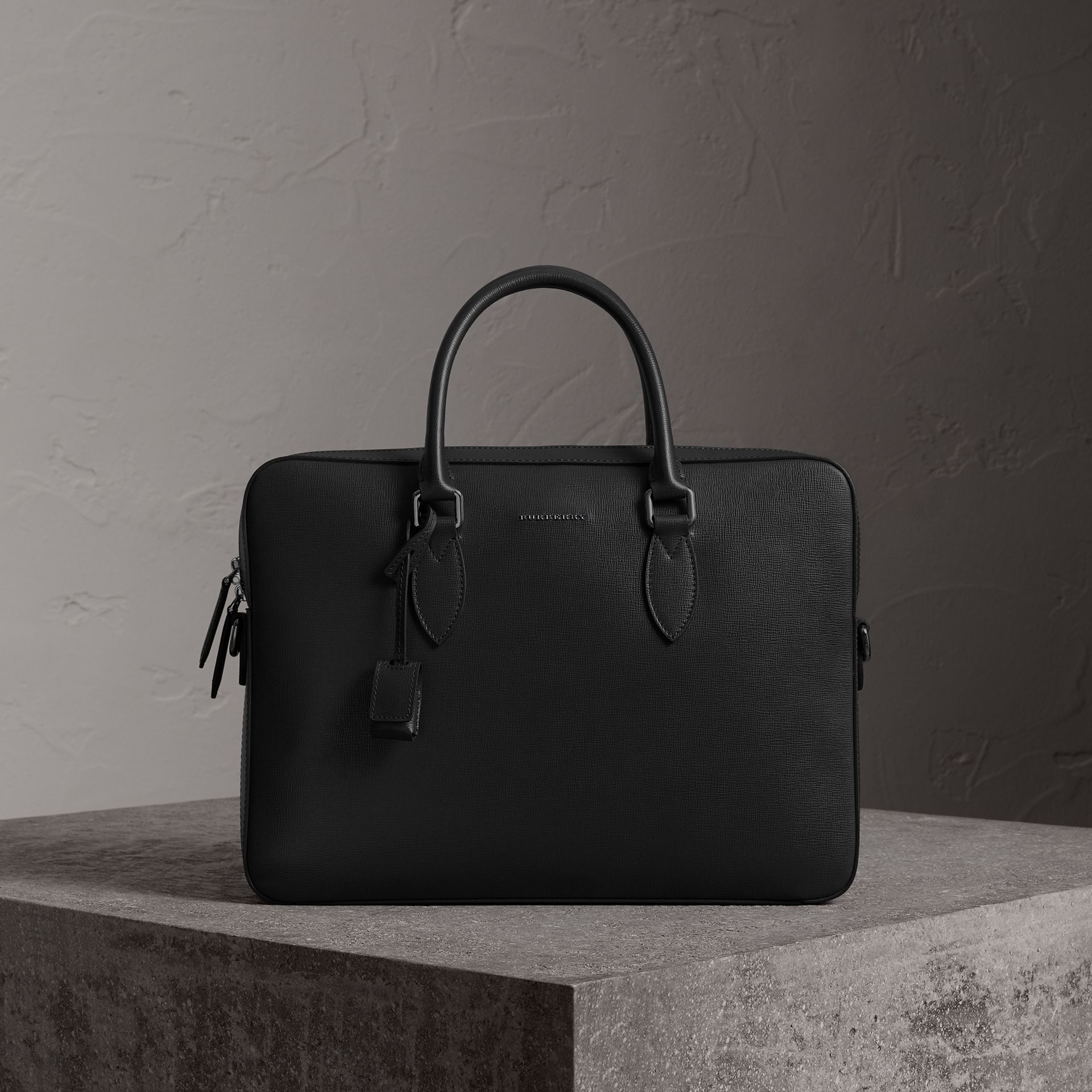 London Leather Briefcase in Black - Men | Burberry Canada - gallery image 0