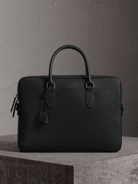 Attaché-case en cuir London (Noir)