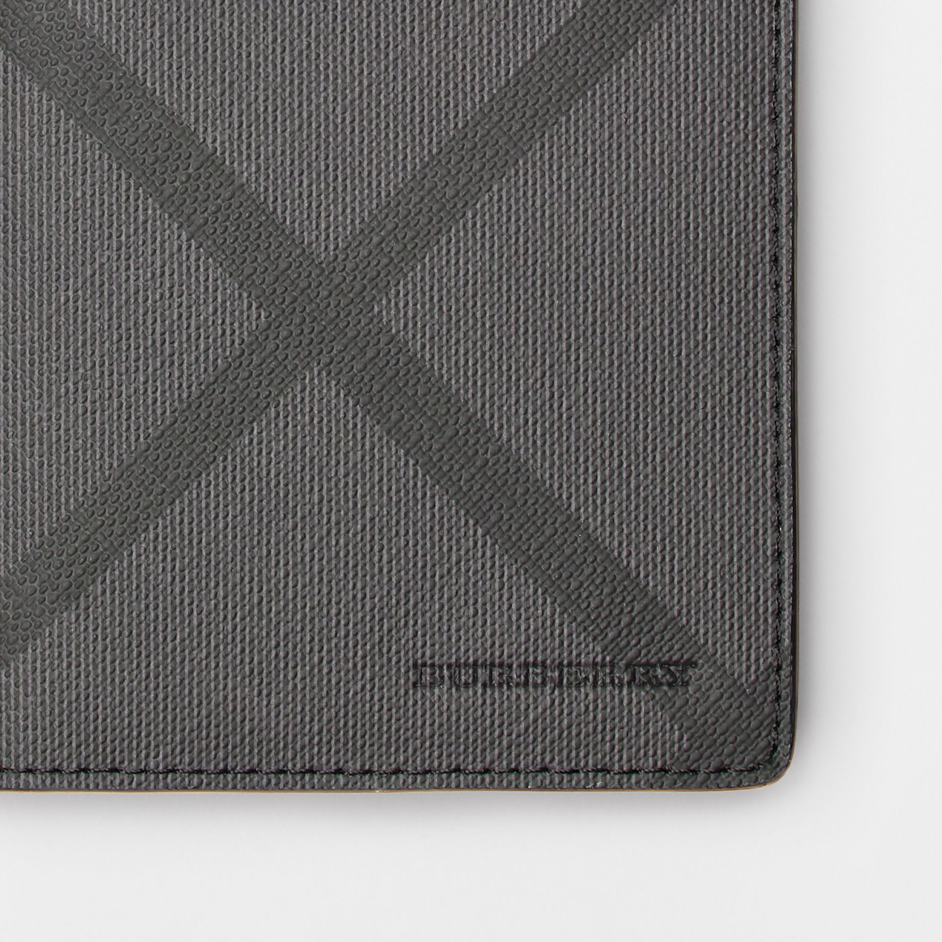London Check and Leather Continental Wallet in Charcoal/black - Men | Burberry United Kingdom - gallery image 1