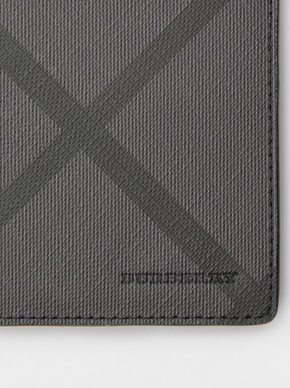 London Check and Leather Continental Wallet in Charcoal/black - Men | Burberry United Kingdom - cell image 1