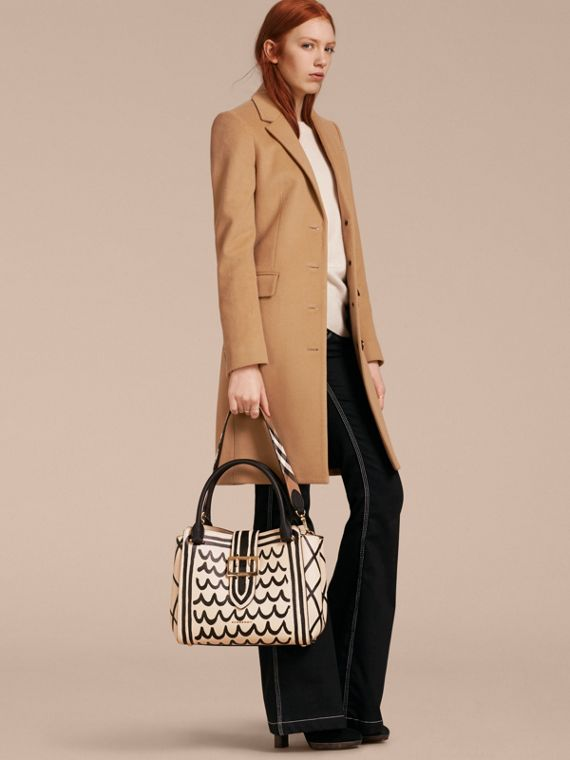 The Medium Buckle Tote in Trompe L'oeil Print Leather in Limestone - Women | Burberry - cell image 3
