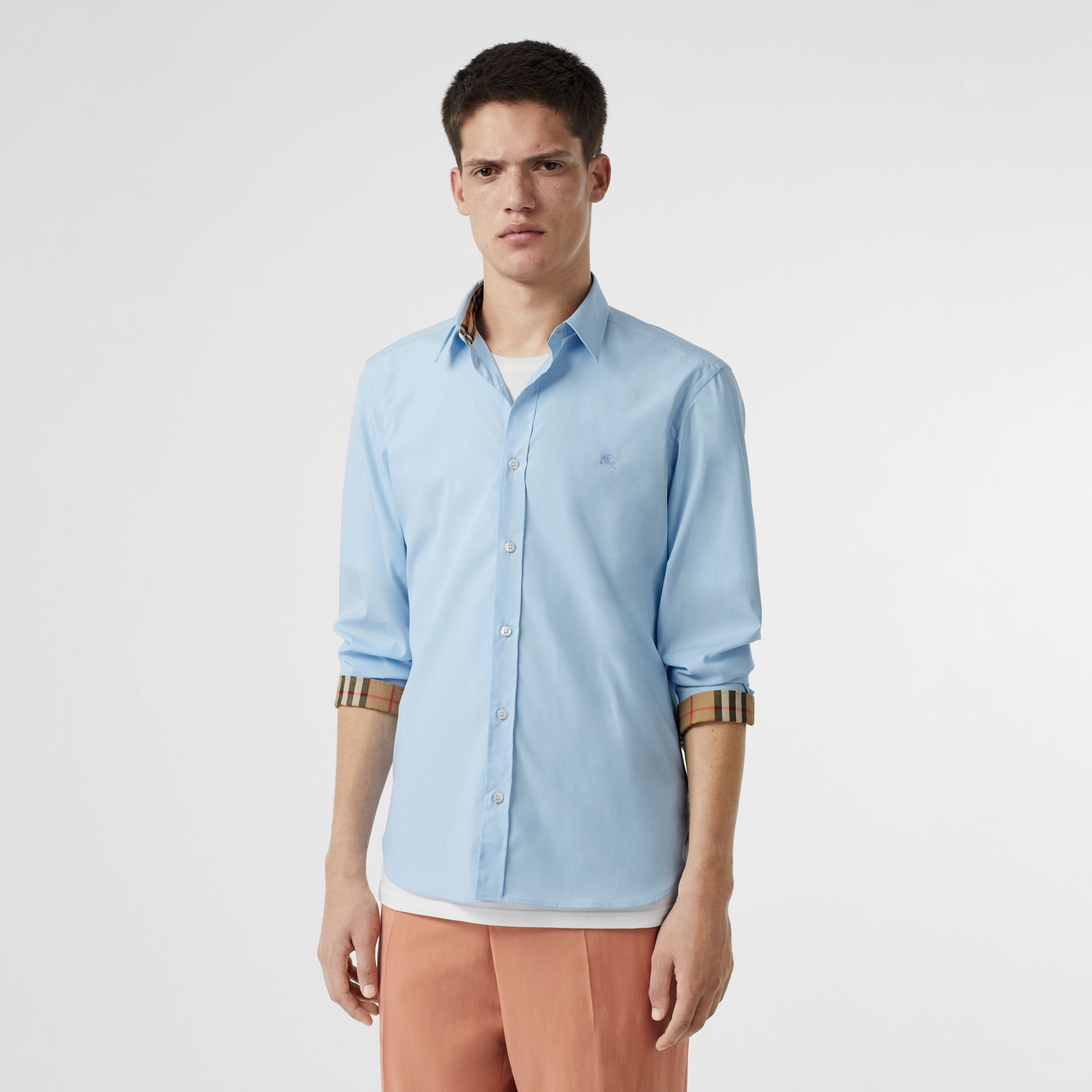 Stretch Cotton Poplin Shirt in Pale Blue - Men | Burberry - gallery image 5