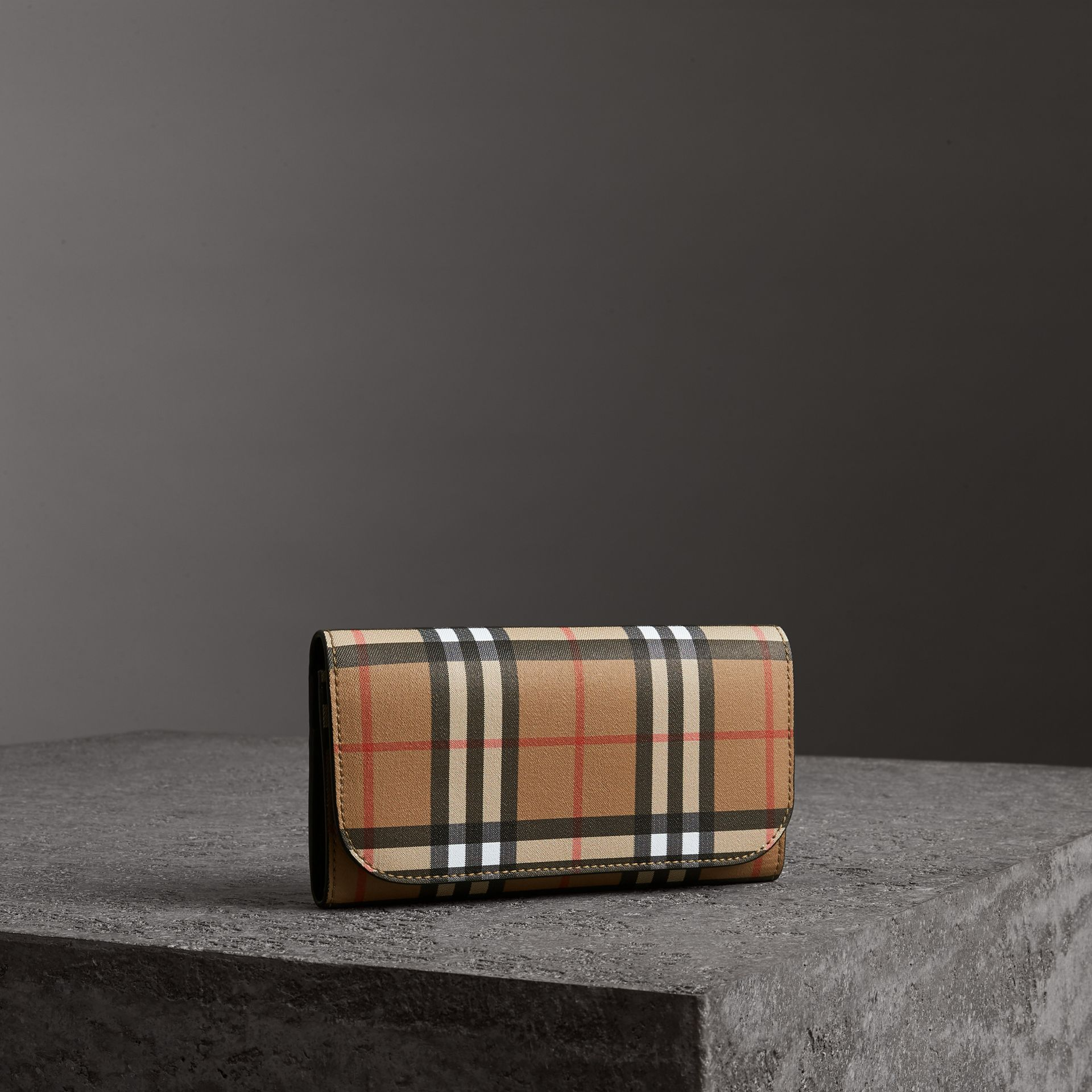Vintage Check Continental Wallet and Pouch in Black - Women | Burberry - gallery image 0