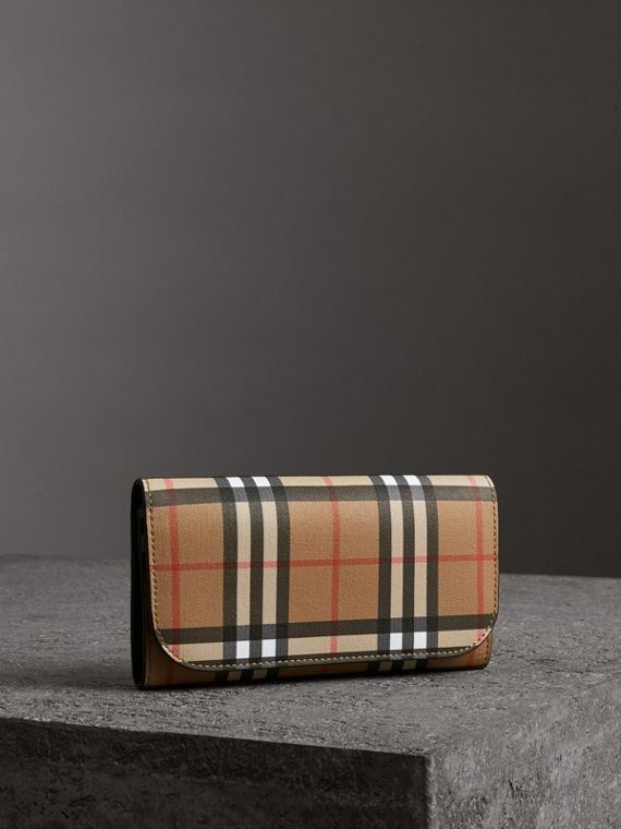 Vintage Check Continental Wallet and Pouch in Black