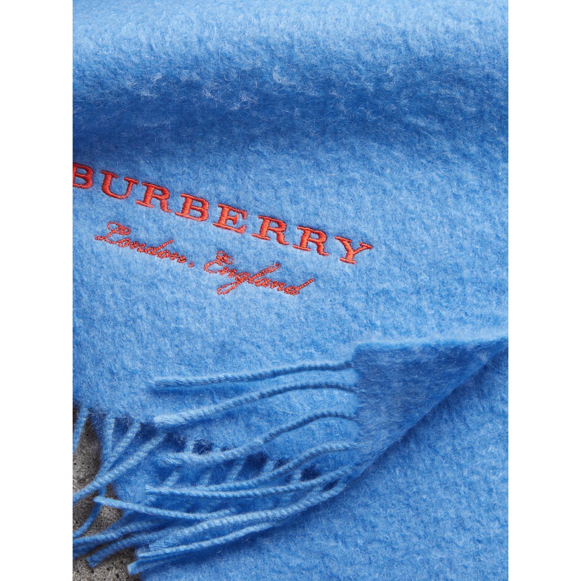 Embroidered Cashmere Fleece Scarf in Blue Topaz | Burberry United Kingdom - gallery image 1