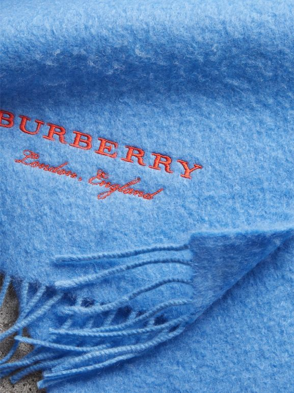 Embroidered Cashmere Fleece Scarf in Blue Topaz | Burberry United Kingdom - cell image 1