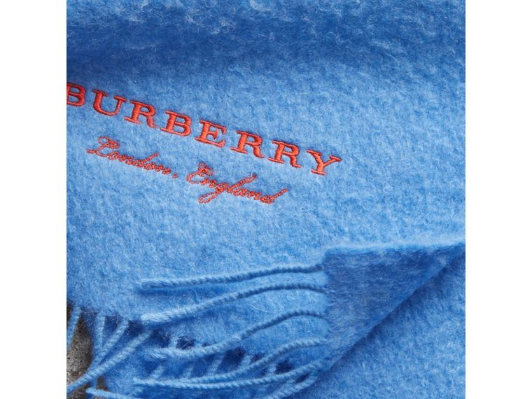 Embroidered Cashmere Fleece Scarf in Blue Topaz | Burberry - cell image 1