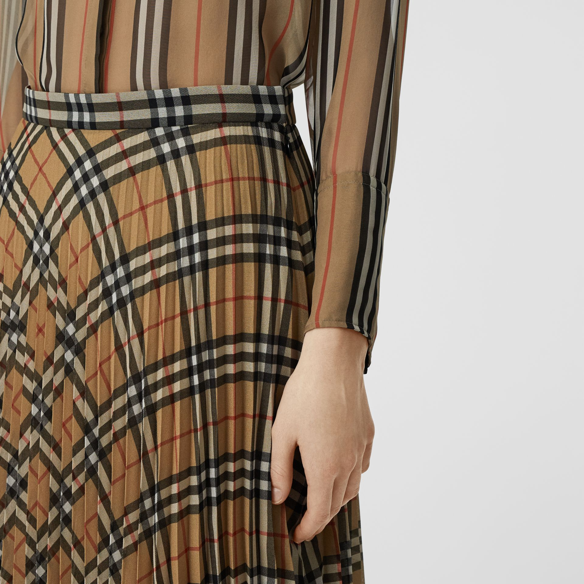 Vintage Check Chiffon Pleated Skirt in Archive Beige - Women | Burberry - gallery image 1