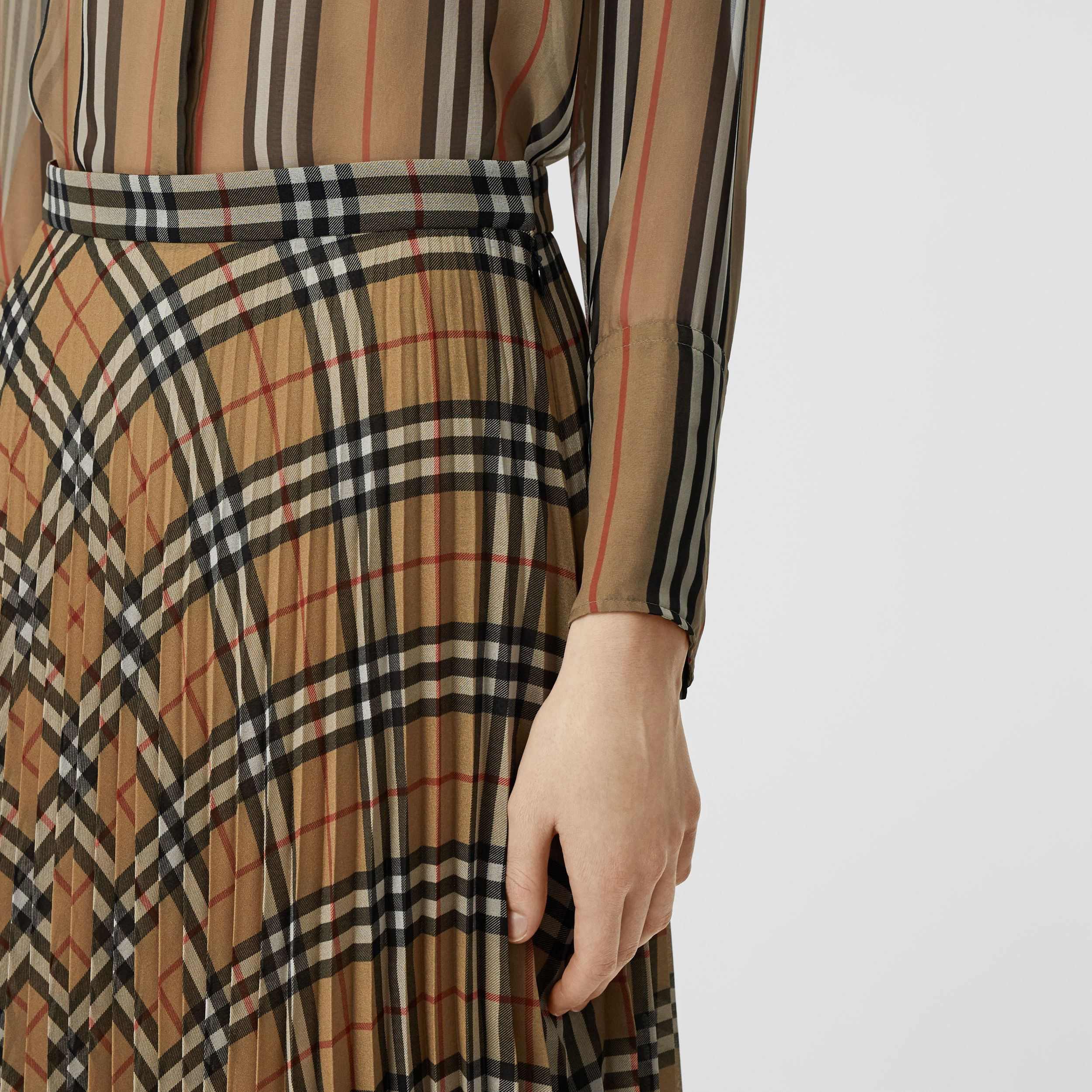 Vintage Check Chiffon Pleated Skirt in Archive Beige - Women | Burberry - 2