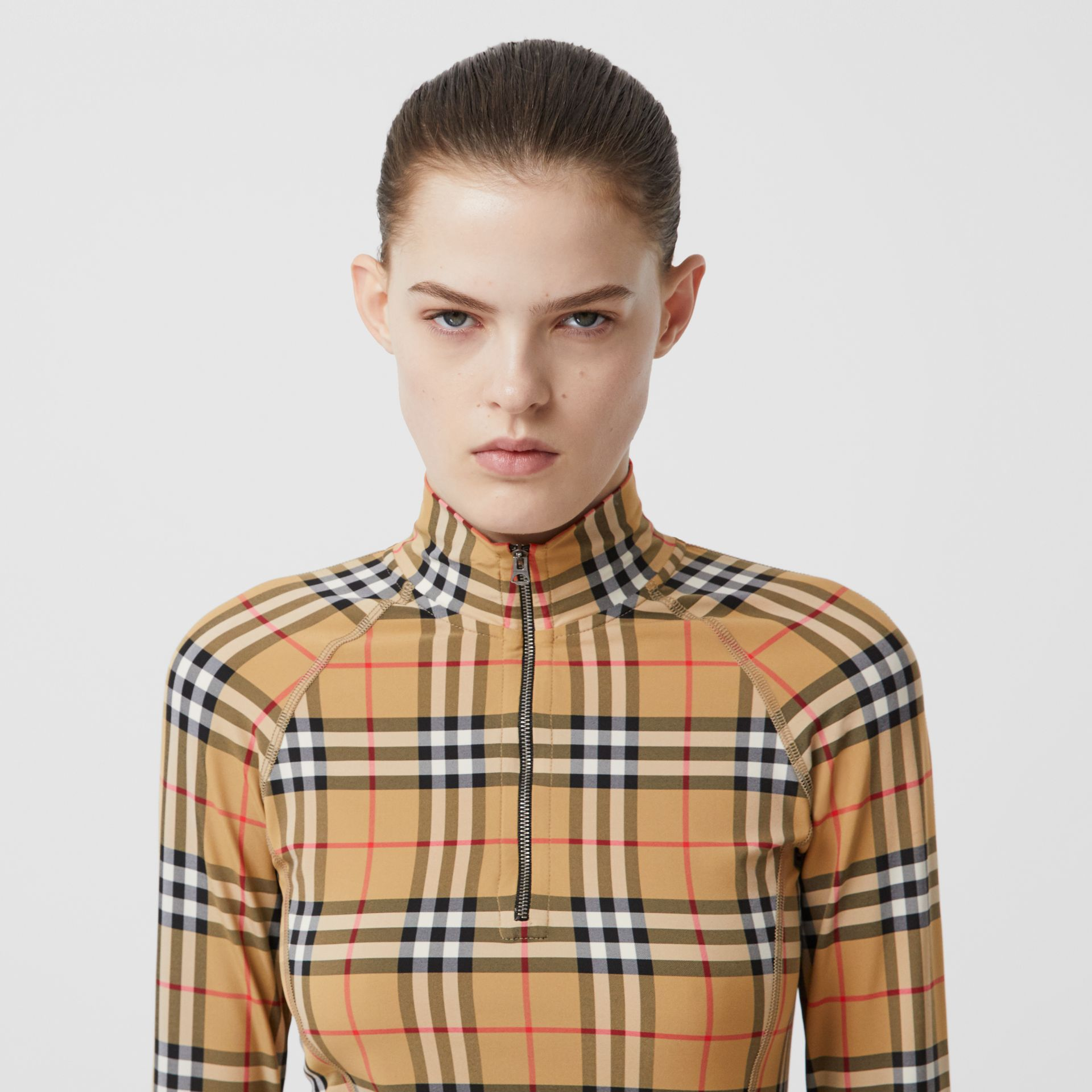 Vintage Check Stretch Jersey Turtleneck Top in Archive Beige - Women | Burberry - gallery image 1