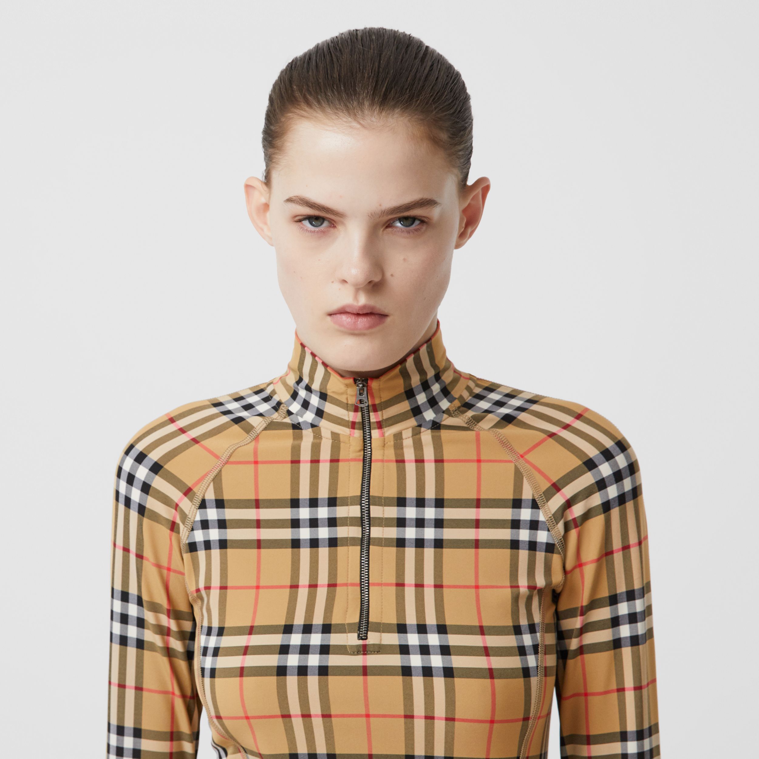 Vintage Check Stretch Jersey Turtleneck Top in Archive Beige - Women | Burberry - 2