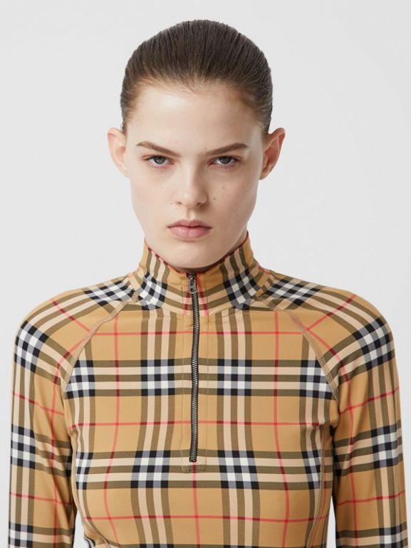 Vintage Check Stretch Jersey Turtleneck Top in Archive Beige - Women | Burberry - cell image 1