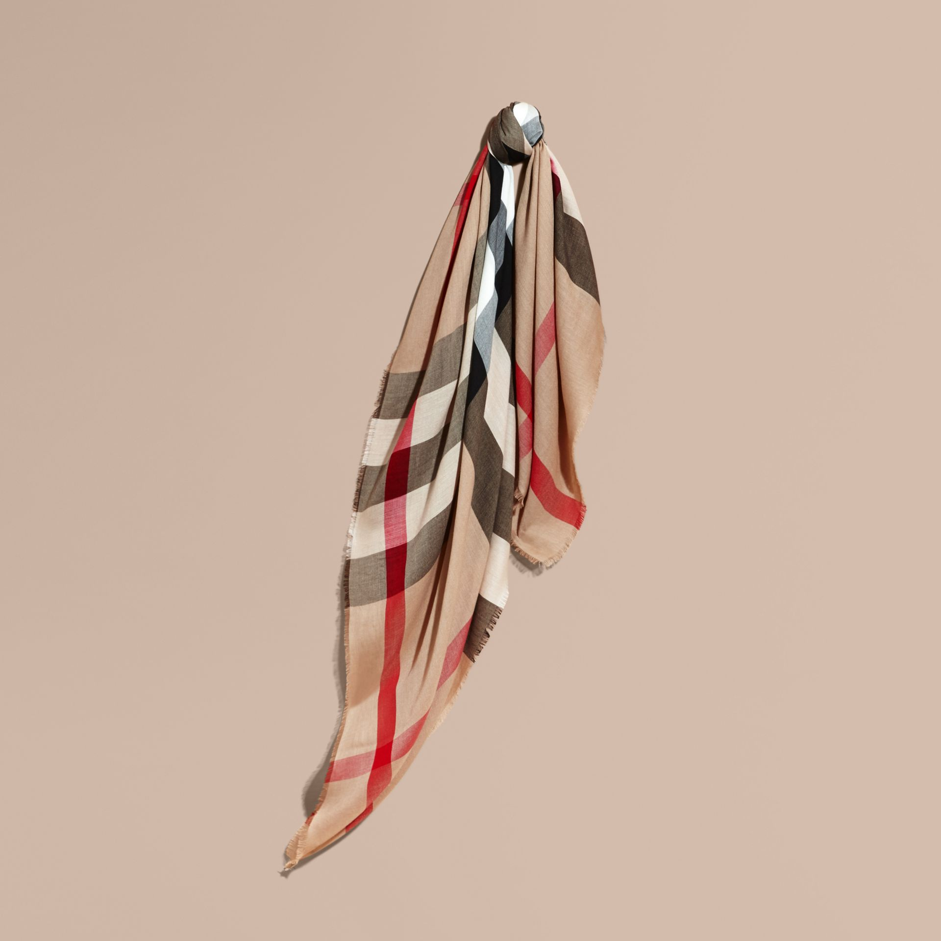 Large Lightweight Check Silk Modal Wool Square Scarf in Camel | Burberry - gallery image 1