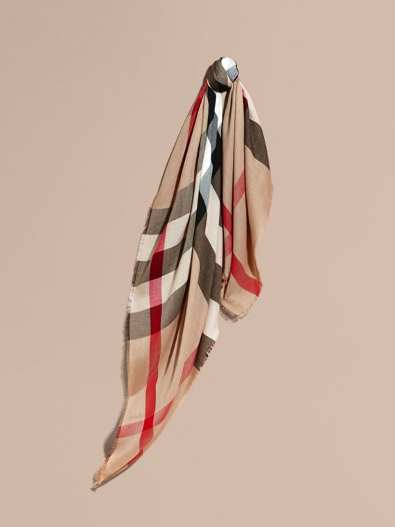 Large Lightweight Check Silk Modal Wool Square Scarf in Camel | Burberry