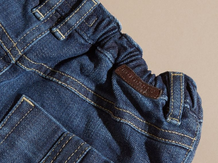Stretch Jeans with Check Detail - cell image 1