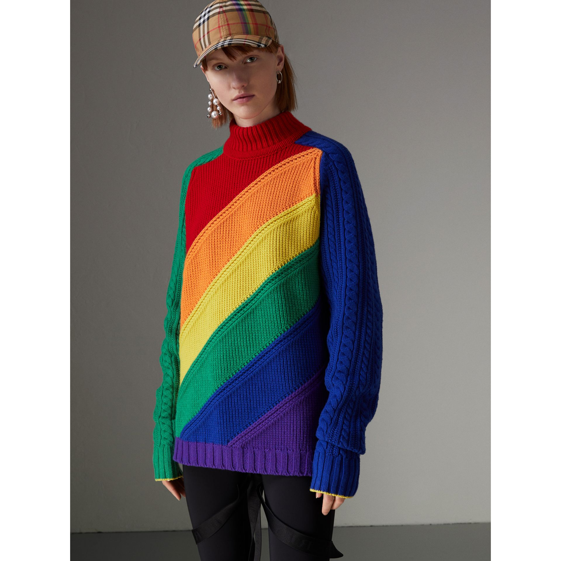 Rainbow Wool-cashmere Turtleneck Sweater in Multicolour - Women | Burberry Australia - gallery image 4