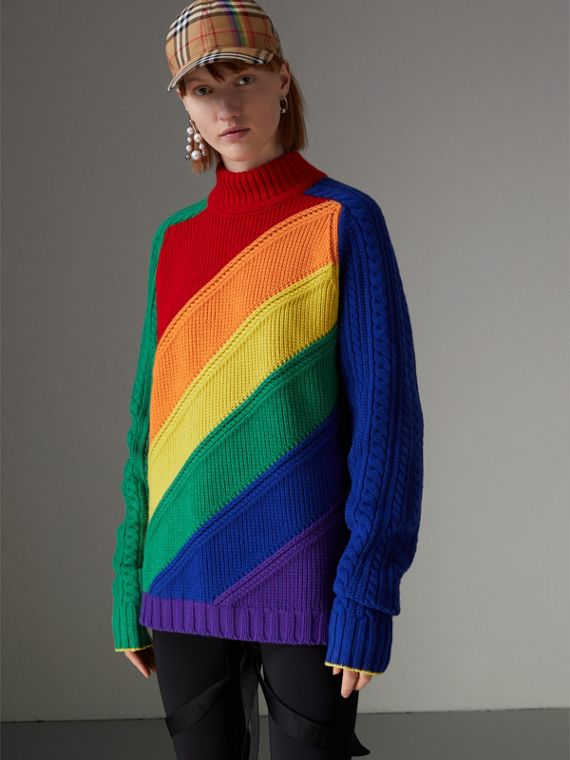 Pullover a collo alto in lana e cashmere color arcobaleno (Multicolore)