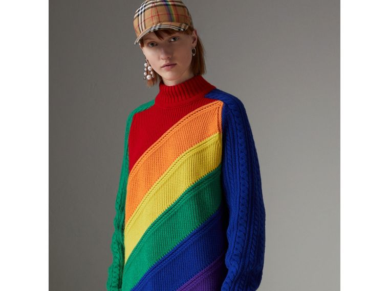 Rainbow Wool-cashmere Turtleneck Sweater in Multicolour - Women | Burberry - cell image 4